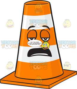 Tired Looking Traffic Cone Character Emoji