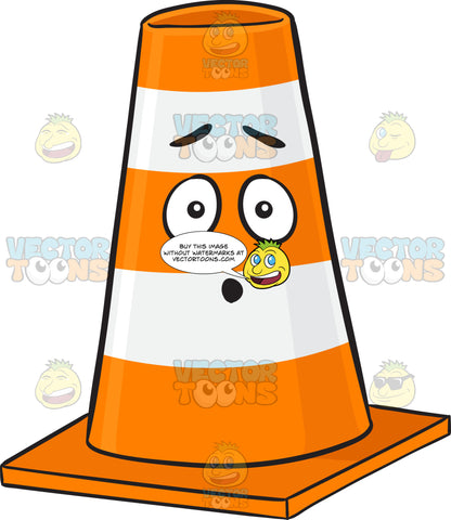 Dumbfounded Traffic Cone Character Emoji