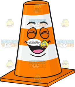 Laughing Traffic Cone Character Emoji