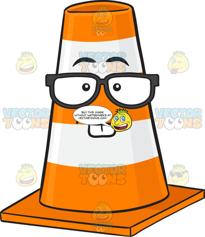Nerd Looking Traffic Cone Character Wearing Eye Glasses Emoji