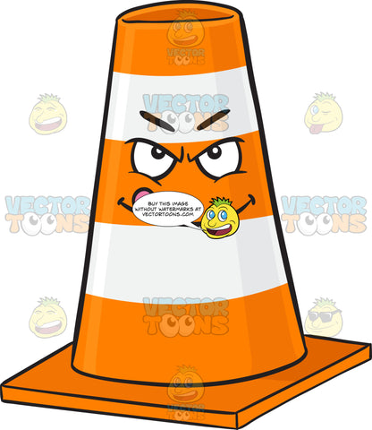 Mischievous Looking Traffic Cone Character Licking Lips Emoji