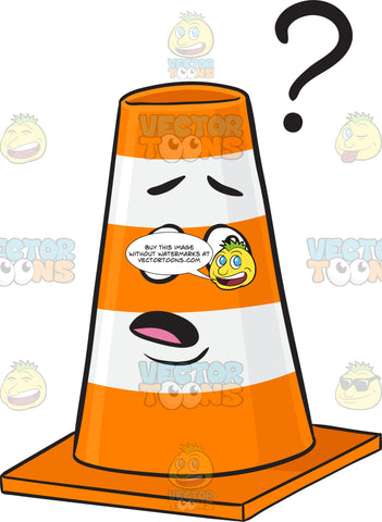 Clueless Traffic Cone Cartoon Looking At Floating Question Mark Emoji