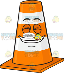 Traffic Cone Character Smiling Wide With Set Of Pearly Whites Emoji
