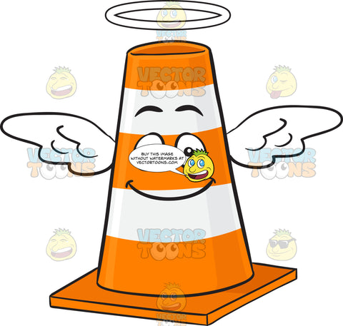 Smiling Traffic Cone Character With Halo And Wings Emoji