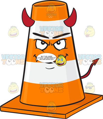 Traffic Cone Character Smiling With Fangs, Horns And Tail Emoji