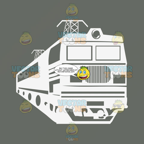 Modern High Speed White Commuter Train Against Gray Textured Background