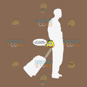 Outline Of Man Holding Handle Of Rolling Suitcase Traveler