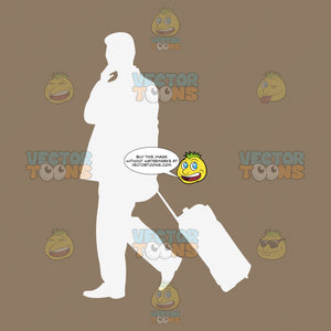 Outline Of Man Walking Holding Rolling Suitcase Business Travel