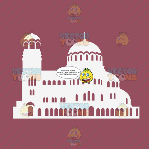 Dome Tower Palace White Silhouette On Pink Background