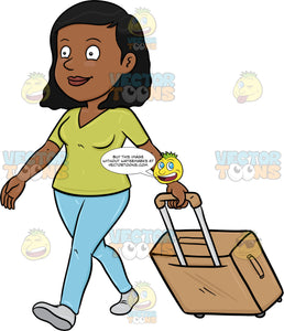 A Black Female Tourist Walks While Pulling Her Luggage