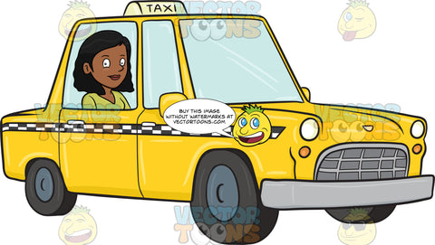 A Satisfied Black Female Rides A Yellow Cab On Her Way To The Hotel