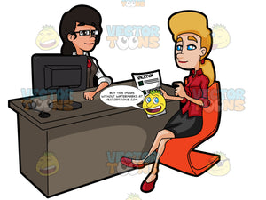 A Blonde Woman Planning Her Travel With An Agent