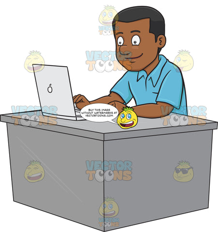 A Black Guy Surfing The Internet Using A Laptop