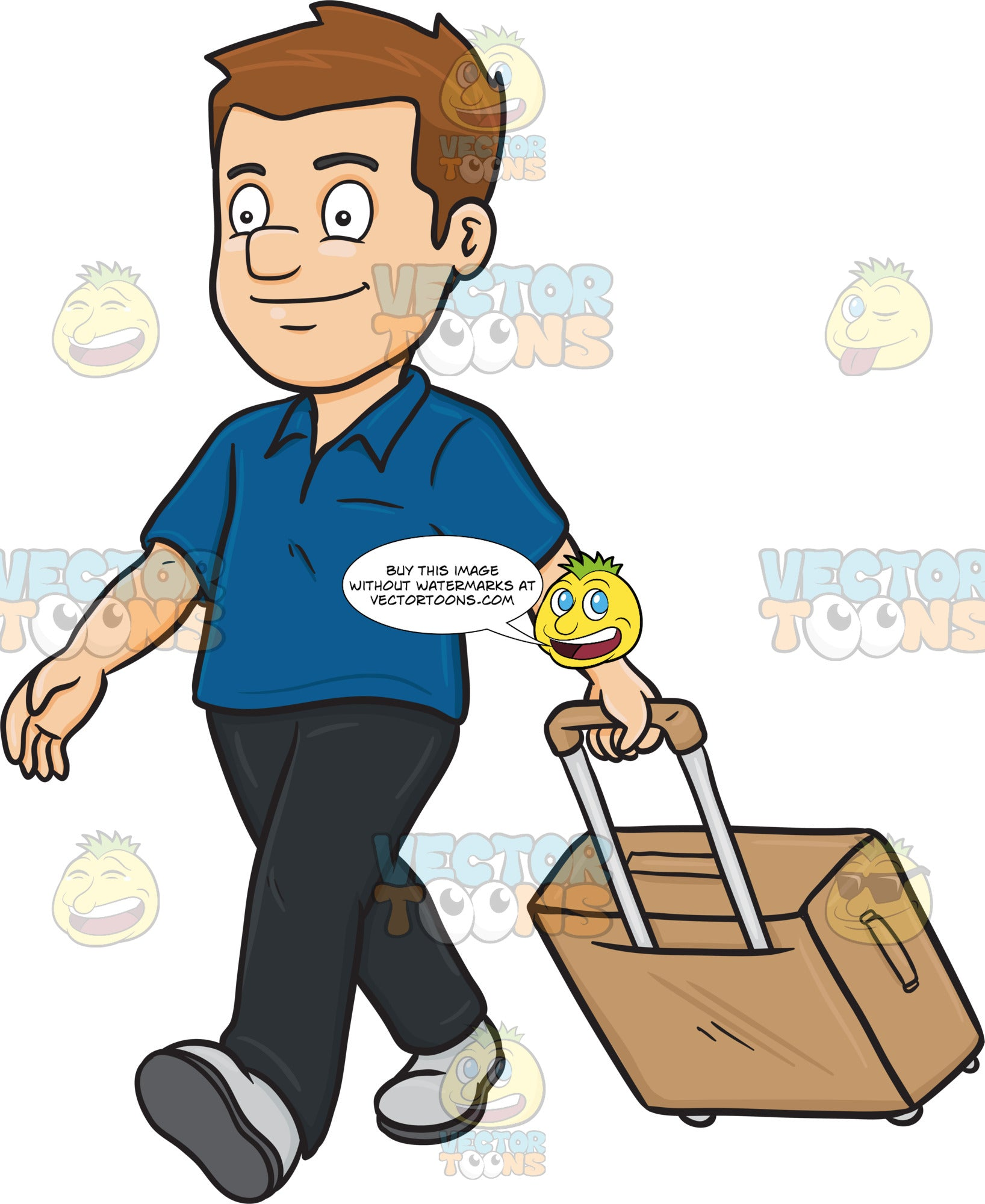 A Guy Tourist Walks While Pulling His Luggage