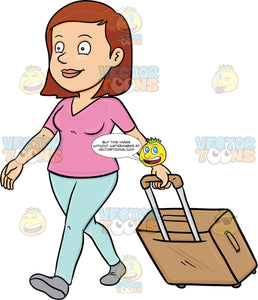 A Female Tourist Tourist Walks While Pulling Her Luggage