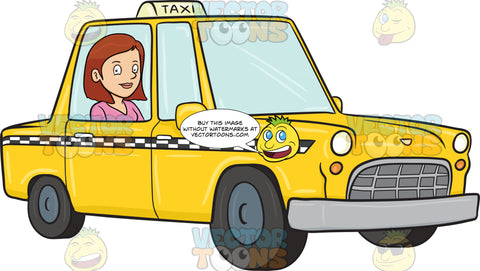 A Satisfied Female Tourist Rides A Yellow Cab On Her Way To The Hotel