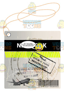 White Luggage Travel Tag With String Saying New York With Black And Yellow Stripe Airplanes And Immigration Stamp