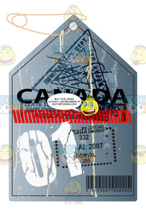 Grey Canada Luggage Travel Tag With String With Red Striped Line 01 In White And Immigrations Stamps
