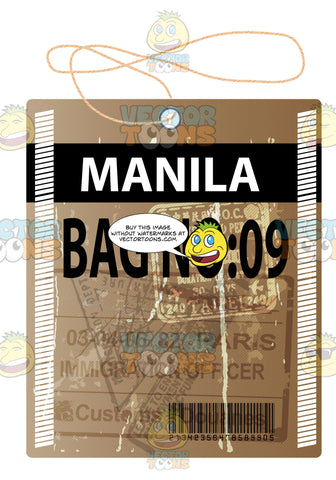 Worn Brown Luggage Travel Tag With String With Words Manila Bag No 09 On It Barcode