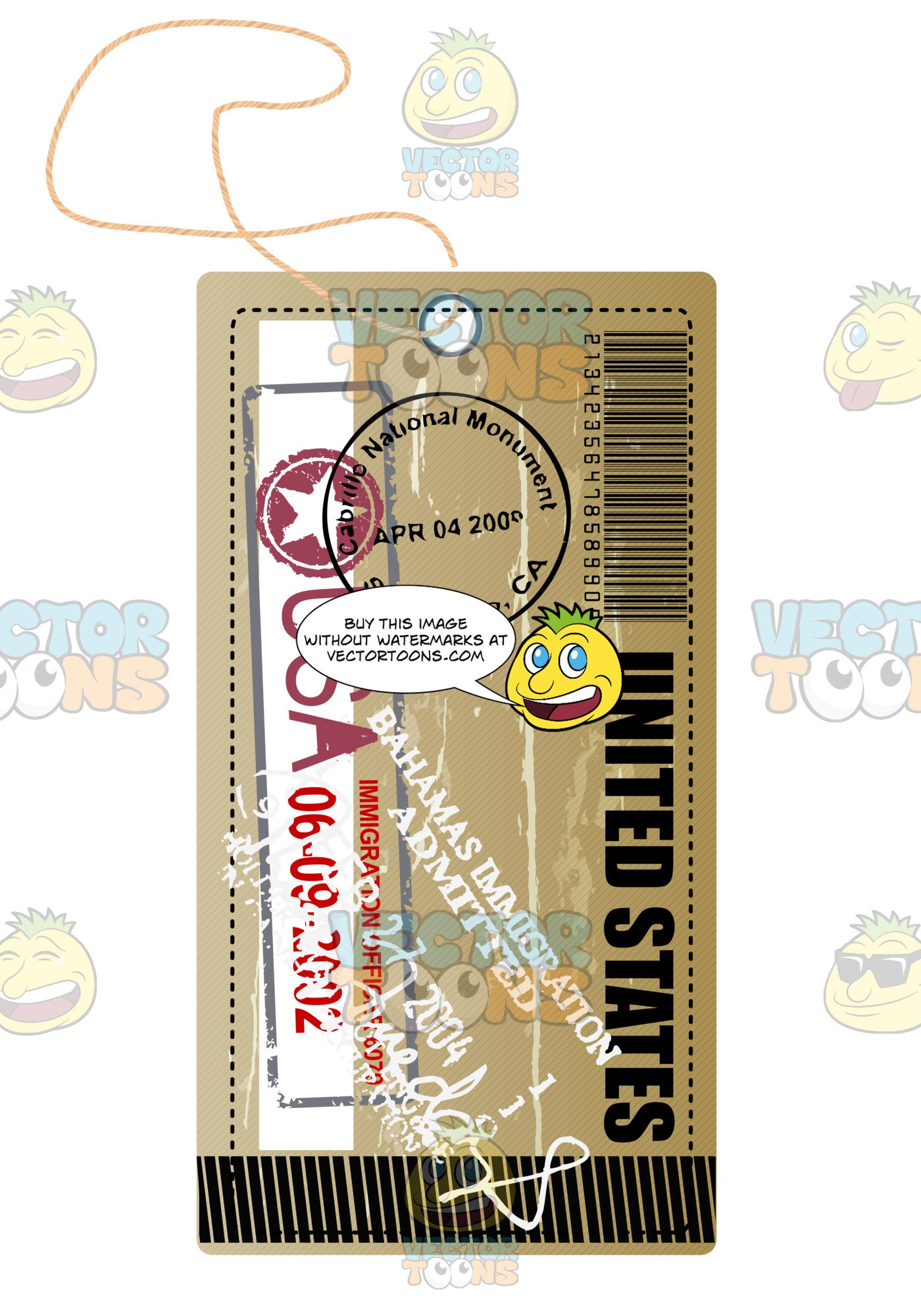 Brown Modern Luggage Travel Tag With String United States With Bahamas Immigration Stamp On It Barcode
