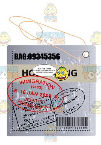 Square Hong Kong Luggage Travel Tag With String Bar Code And Bag Number Plus Immigration Stamps