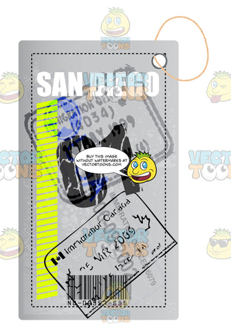 White Rectangle San Diego Luggage Travel Tag With String From Canada With Immigration Stamp And Bar Code