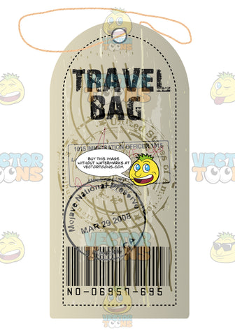 Beige Luggage Travel Tag With String And Rounded Edge From Canada With Immigration Stamp And Bar Code