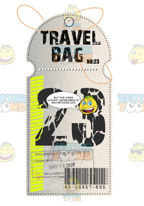 White Luggage Travel Tag With String Words Travel Tag And 23 With Yellow Striped Line Immigration Stamps And Bar Code
