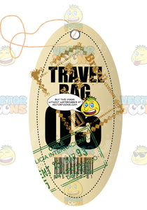 Light Yellow Oval Shaped Luggage Travel Tag With String Words Travel Bag 05 With Chile Immigration Stamps And Bar Code