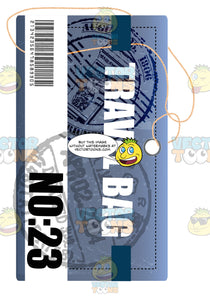 Blue And White Rectangle Luggage Travel Tag With String Words Travel Bag No23 Immigration Stamps And Bar Code