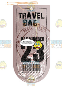 Pink Rectangle Luggage Travel Tag With String Words Travel Bag Bag No23 Immigration Stamps And Bar Code