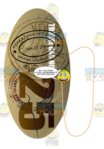Brown Oval Shaped Luggage Travel Tag With String Words Travel Bag No 25 With Immigration Stamps