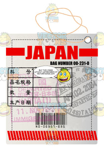 Square White Japan Luggage Travel Tag With String Red Lettering Bar Code And Bag Number Plus Immigration Stamps