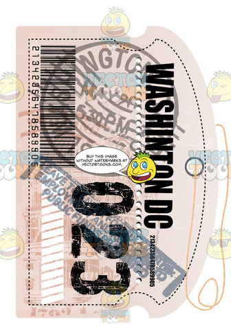 Washington Dc Luggage Travel Tag With String Bar Code And Bag Number Plus Immigration Stamps