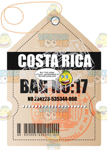 Costa Rica Luggage Travel Tag With String Bar Code And Bag Number Plus Immigration Stamps