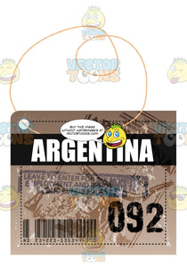 Argentina Square Luggage Travel Tag With String Bar Code Bag Number Plus Immigration Stamps