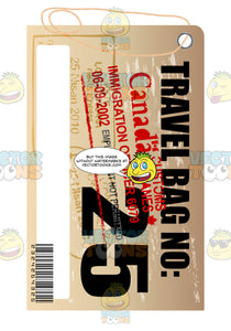 Canada Rectangle Luggage Travel Tag With String Bar Code Bag Number Plus Immigration Stamps