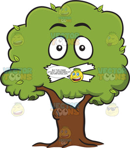 Healthy Leafy Tree With Taped Mouth Emoji
