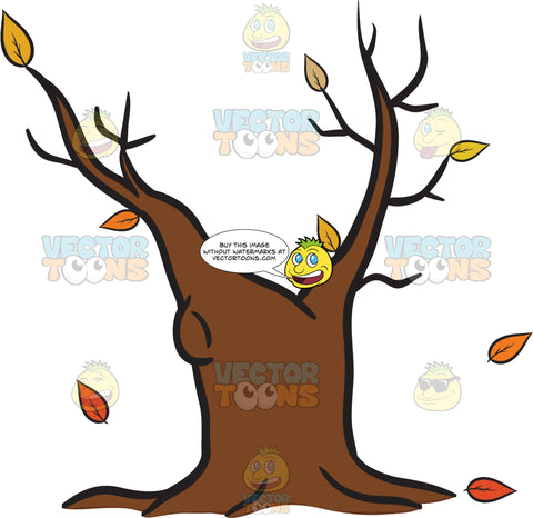 Withered Old Tree Trunk During The Fall Emoji