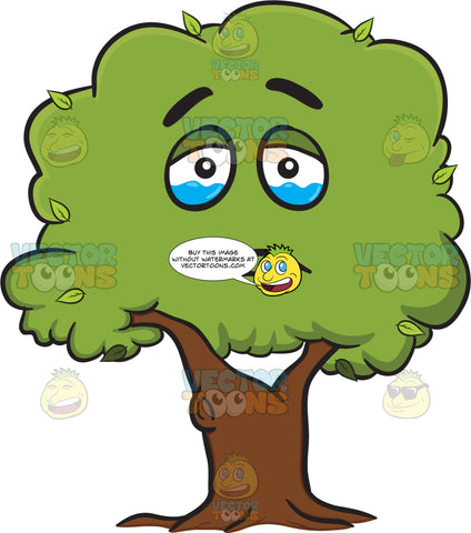 A Healthy Leafy Tree Looming With Tears Emoji