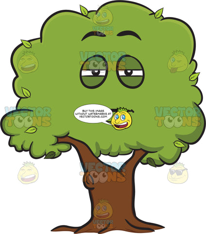 Tired Healthy Leafy Tree Emoji