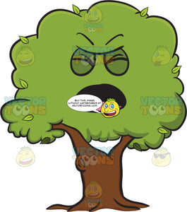 Bothered And Anguished Healthy Leafy Tree Emoji