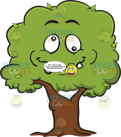 Looney Looking Healthy Leafy Tree Emoji