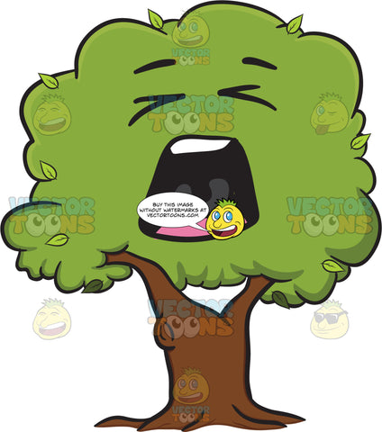 Irritated And Yelling Healthy Leafy Tree Emoji