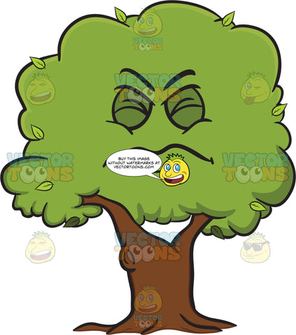 Squinted Look On Healthy Leafy Tree Emoji