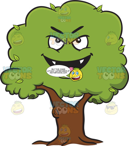 Evil Looking Healthy Leafy Tree Emoji