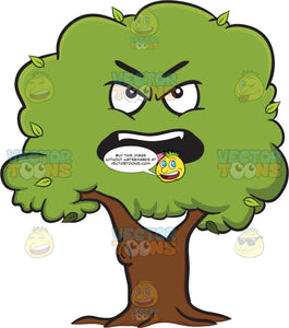 Upset And Angry Healthy Leafy Tree Emoji