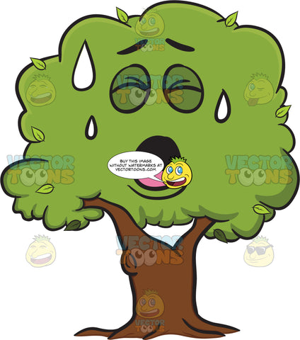 Healthy Leafy Tree Sweating In Pain Emoji