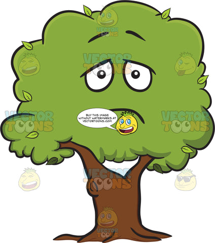 Saddened And Lonesome Healthy Leafy Tree Emoji