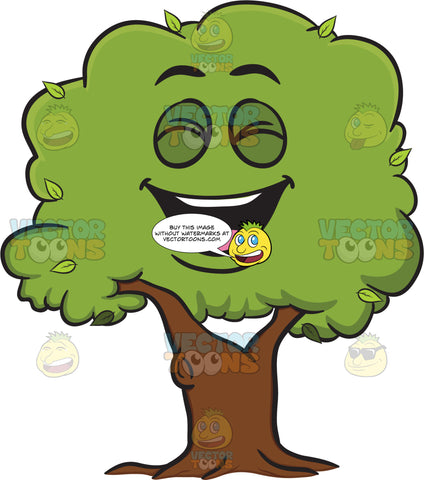 Laughing Healthy Leafy Tree Emoji
